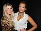 Iris Stefanelli e uma decotada Geisy Arruda vão a show em São Paulo