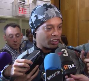 Ronaldinho durante evento do Barcelona em NY (Foto: site oficial Barcelona)