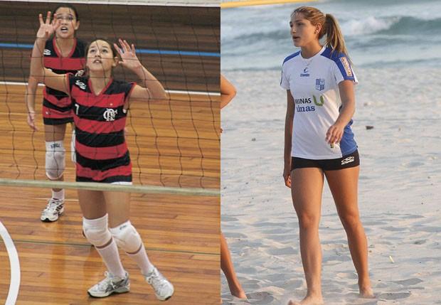 Sasha também atuou como jogadora de vôlei de 2011 a 2015 (Foto: Divulgação e Marcos Ferreira/Foto Rio News)