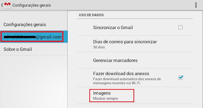 Acessando as configurações de imagens da conta Gmail (Foto: Reprodução/Edivaldo Brito)