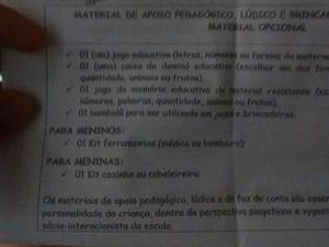 Lista de materiais considerada sexista pelo Coletivo Fridas (Foto: Facebook/Coletivo Fridas)