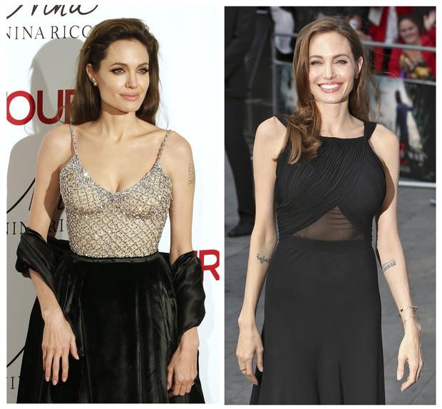 Angelina Jolie: antes e depois da mastectomia (Foto: REUTERS/Neil Hall/Juan Medina)