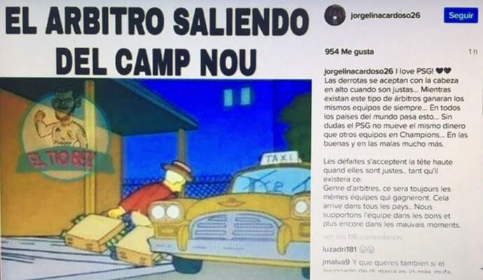 Jorgelina Cardoso esposa Di María Simpsons arbitragem Barcelona x PSG (Foto: Reprodução)