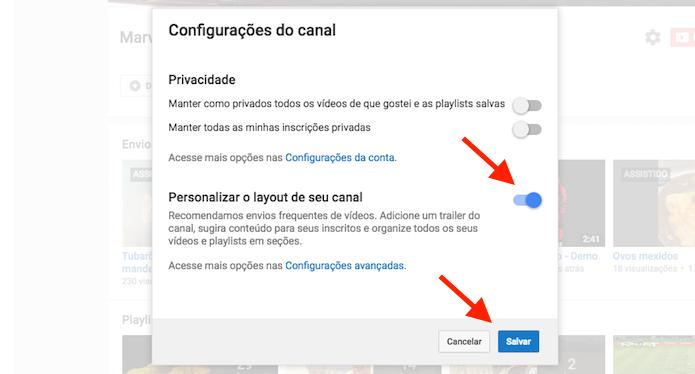 Ativando as opções para personalizar um canal do YouTube (Foto: Reprodução/Marvin Costa)