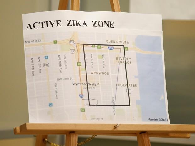 Mapa mostra a zona onde o vírus da zika está ativo nos EUA (Foto: Chris Keane/Reuters)