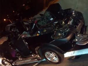Veículo fica destruído em acidente que matou seis cavalos em Hortolândia, SP  (Foto: Marcelo Leandro de Souza/ VC no G1)