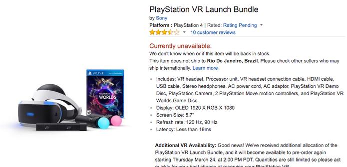 PlayStation VR custa US$ 400, mas está esgotado em várias lojas (Foto: Reprodução/Felipe Vinha)