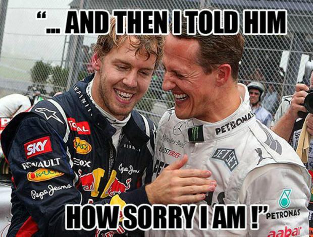 Montagem que virou hit na internet brinca com atitude de Sebastian Vettel e fama de desleal de Michael Schumacher (Foto: Reprodução)