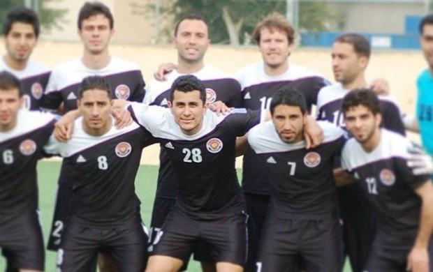 Edmar Figueira (camisa 28) defendeu o Al-Shorta da Síria na temporada 2013 (Foto: Arquivo pessoal)