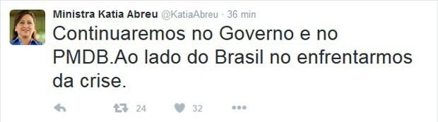 A ministra da Agricultura, Kátia Abreu, afirma no Twitter que permanecerá no governo Dilma (Foto: Reprodução / Twitter)