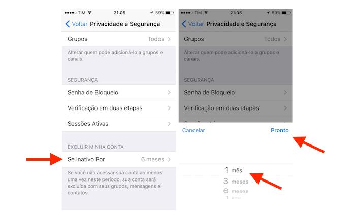 Ativando a autodestruição de uma conta do Telegram no iPhone (Foto: Reprodução/Marvin Costa)