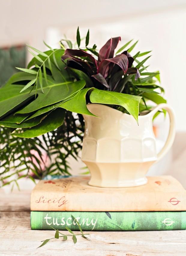 PARA QUE FLOR? Simples e chique, o arranjo sem flores mistura folhas de dracena baby, pertusa e chorão. Jarra da Ideia Única (Foto: Casa e Comida)
