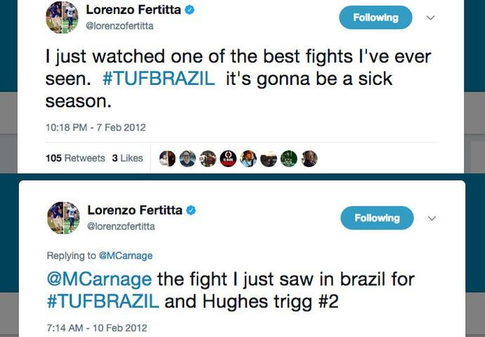 tweets Lorenzo Fertitta luta TUF Brasil (Foto: Reprodução/Twitter)
