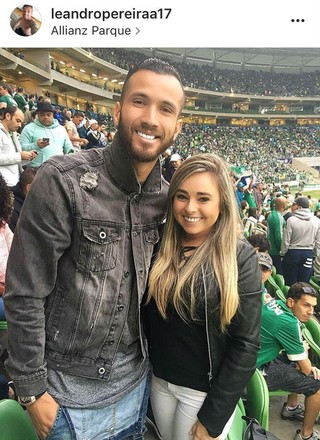 Leandro Pereira assiste ao jogo entre Palmeiras e Santa Cruz (Foto: reprodução / Instagram)