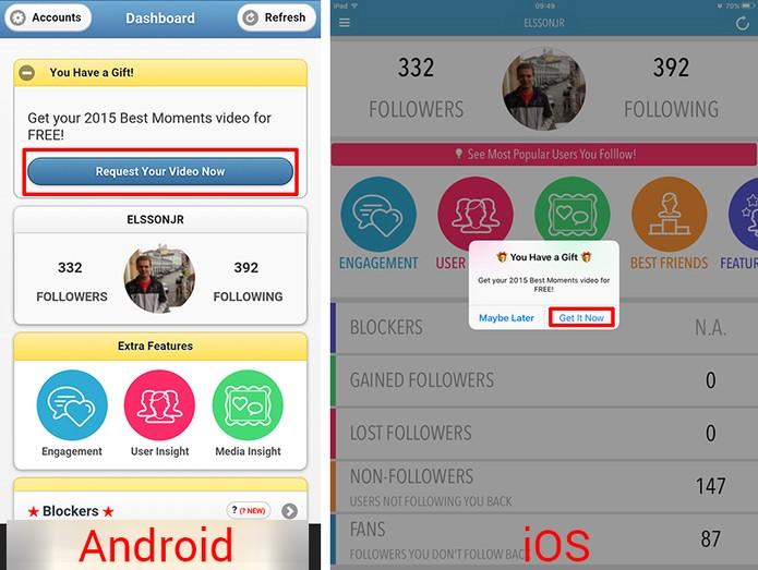 InstaTrack oferecerá retrospectiva de diferentes maneiras no Android e iOS (Foto: Reprodução/Elson de Souza)