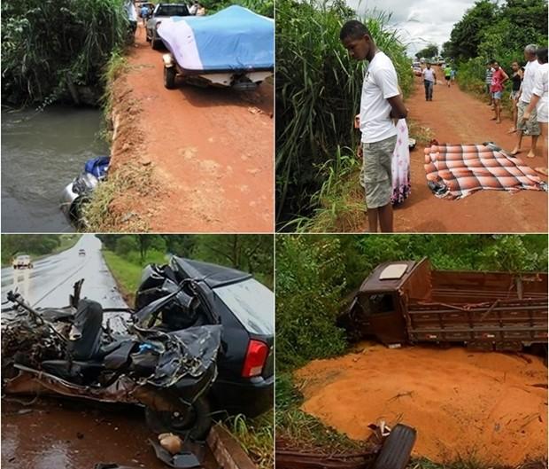 Estradas goianas registraram 11 mortes nas últimas 24 horas (Foto: Montagem com fotos de Divulgação/Bombeiros e Reprodução/TV Anhnaguera)