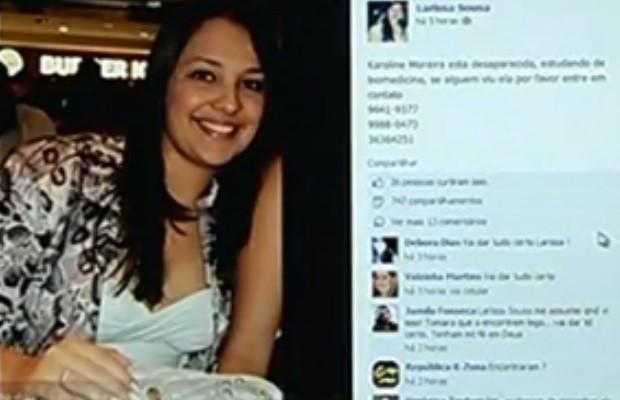 Desesperados, familiares fizeram campanha nas redes sociais para tentar localizá-la, em Jataí, Goiás (Foto: Reprodução/ TV Anhanguera)