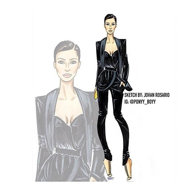 Sketch do look usado por Kim Kardashian (Foto: Reprodução/Instagram)
