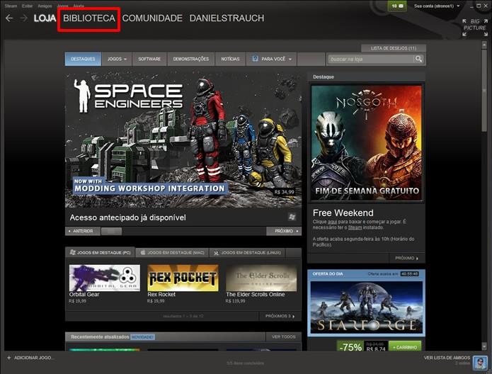 Clique no atalho destacado na figura para acessar a biblioteca do Steam (Foto: Reprodução/Daniel Ribeiro)