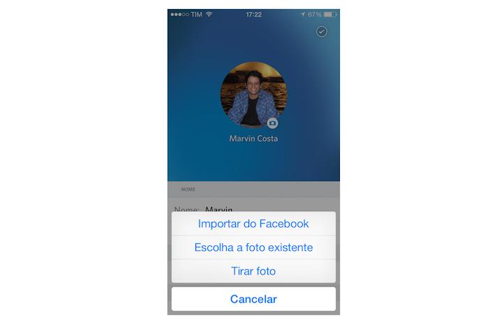 Acessando as opções para foto de perfil do Rdio para iPhone (Foto: Reprodução/Marvin Costa)