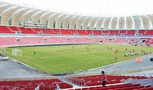 Funcionários do Inter promovem '1º jogo' no gramado do novo Beira-Rio  (Foto: Divulgação/Grupo Gigante Para Sempre)