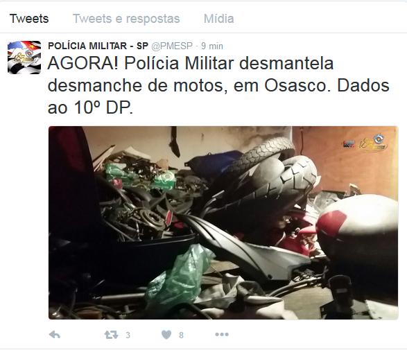 Polícia Militar encontra local de desmanche de motos em Osaco (Foto: Reprodução/Twitter: PMESP)