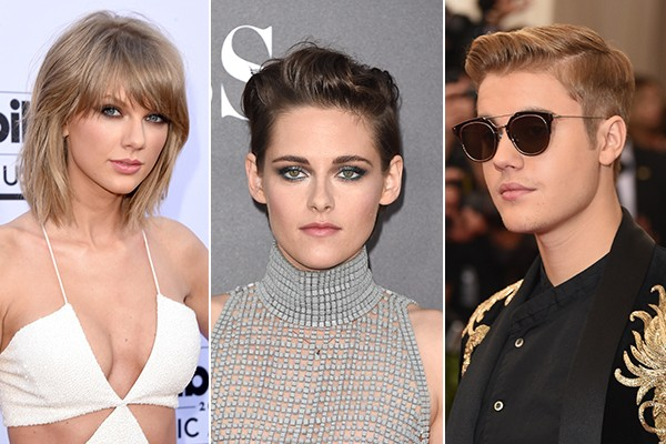 Taylor Swift, Kristen Stewart e Justin Bieber (Foto: Getty Images)