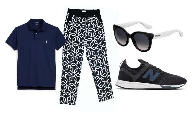 Camisa polo Polo Ralph Lauren R$R$330|Óculos Havainas R$342|Calça Meijor R$127,50|Tênis New Balance R$500 (Foto: Divulgação)