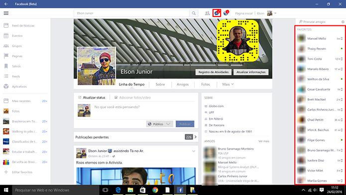 Facebook tem atalhos para enviar mensagens no Windows 10 (Foto: Reprodução/Elson de Souza)