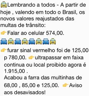 Mensagem sobre novos valores das multas (Foto: Reprodução)