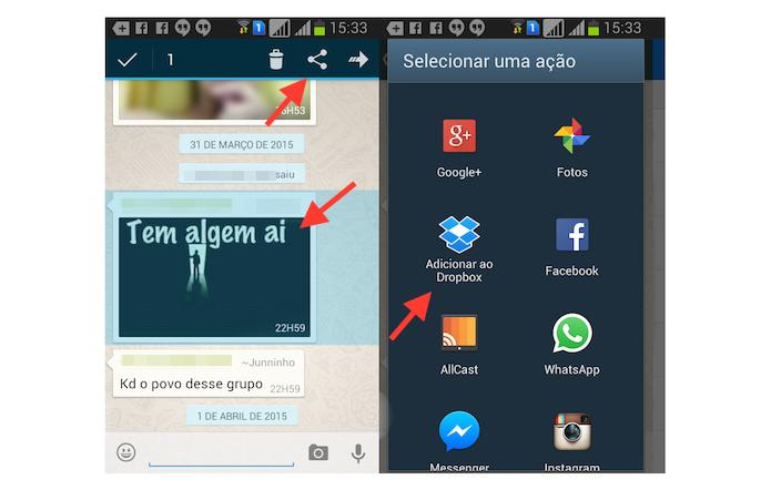 Acessando as opções de compartilhamento de uma fotos no WhatsApp para Android (Foto: Reprodução/Marvin Costa)