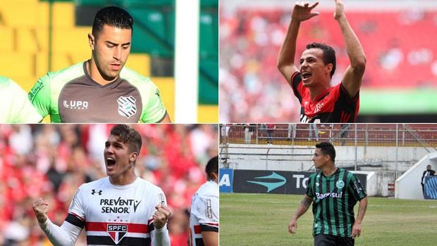 futebol montagem (Foto: Divulgação/Figueirense/Gilvan de Souza / Flamengo/Rubens Chiri/saopaulofc.net/Arthur Dallegrave/E.C. Juventude)
