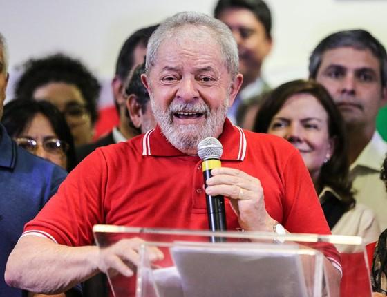 O ex-presidente Luiz Inácio Lula da Silva fala em São Paulo.Ele não refutou as provas;optou por um discurso emotivo (Foto:  Vanessa Carvalho/Brazil Photo Press)