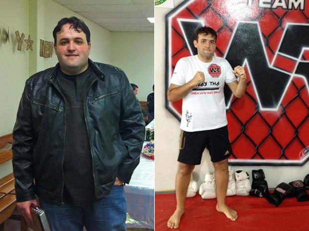 O carioca teve que abandonar as gorduras, frituras e refrigerante e mudar todo o cardápio; fotos mostram antes e depois (Foto: Arquivo pessoal/Daniel Carvalho)