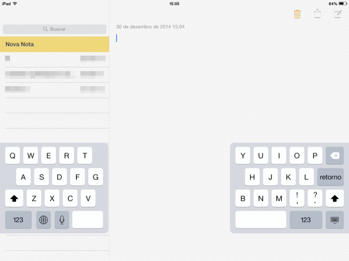 Aprenda a dividir o teclado do iPad (Foto: Helito Bijora/TechTudo)