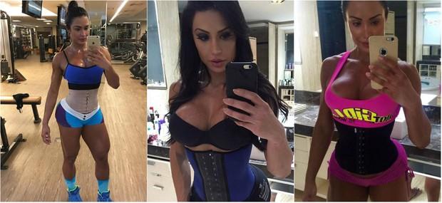 Gracyanne Barbosa usa cinta modeladora para malhar. Medico afirma que uso da peça não faz perder medidas definitivas  (Foto: Reprodução do Instagram)