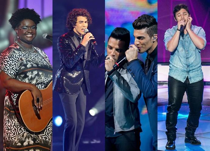 Ellen Oléria, Sam Alves, Danilo Reis e Rafael e Renato Vianna: os campeões do The Voice Brasil (Foto: Gshow)