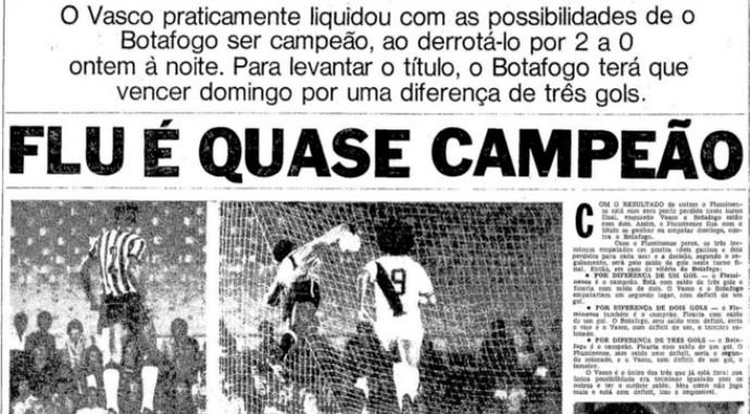 Jornal O Globo 15/08/1975 Vasco x Botafogo (Foto: Reprodução / Jornal O Globoo)