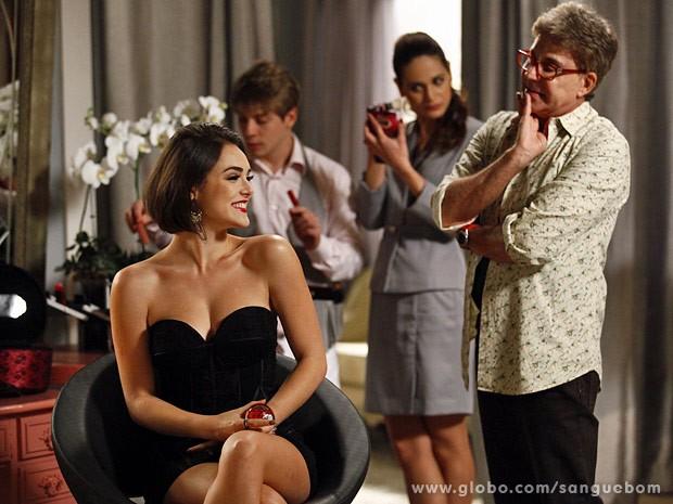 Todos adoram o novo visual da corintiana (Foto: Inácio Moraes / TV Globo)