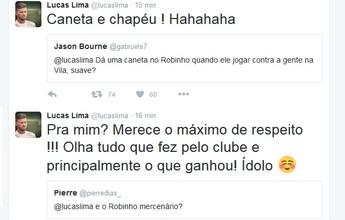 """Pela internet, Lucas Lima promete """"caneta e chapéu"""" em Robinho na Vila"""