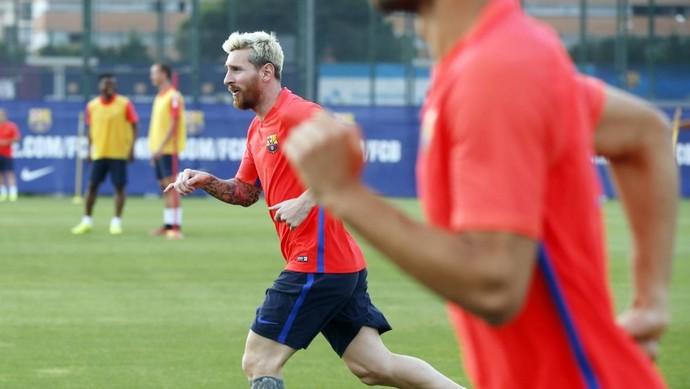 Messi participou do começo da atividade do Barça nesta quarta (Foto: MIGUEL RUIZ - FCB)