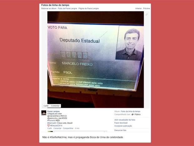 A produtora cultural Paula Lavigne publicou uma foto da urna eletrônica e foi parar no tumblr Selfie na urna (Foto: Reprodução/Tumblr)