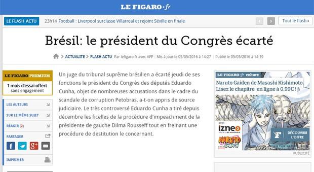 Uma nota sobre Eduardo Cunha foi publicada no site fo jornal francês 'Le Figaro' (Foto: Reprodução/Le Figaro)