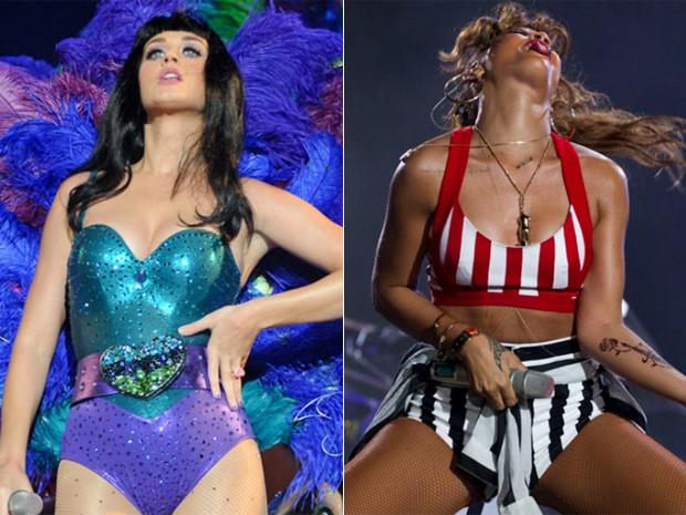 Katy Perry e Rihanna cantaram no primeiro dia do Rock in Rio 2011 (Foto: Flavio Moraes/G1 e AP)