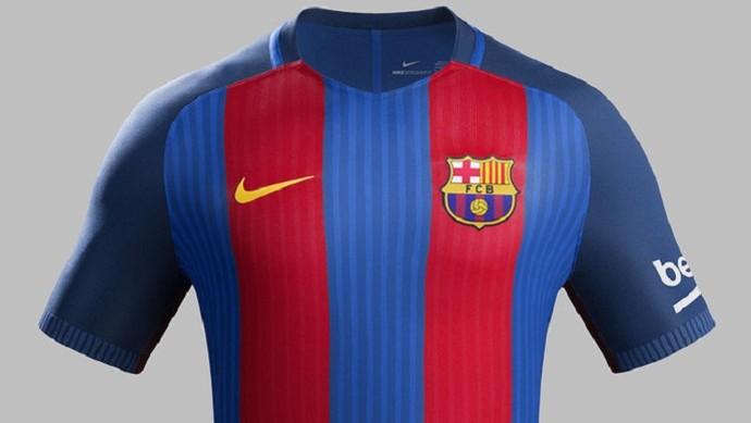 Barcelona novo uniforme (Foto  Divulgação Site oficial do Barcelona) Camisa  ... d54d1c519279c