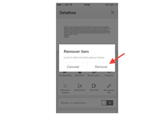 Removendo um arquivo do Google Drive pelo aplicativo para iPhone (Foto: Reprodução/Marvin Costa)