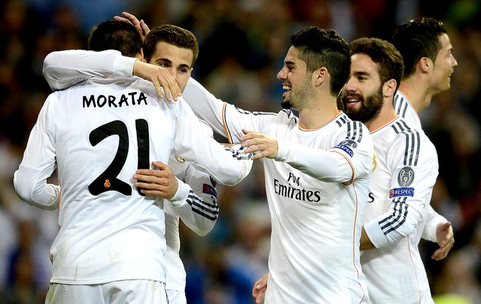 Morata comemoração Real Madrid contra Schalke Liga dos Campeões (Foto: AFP)