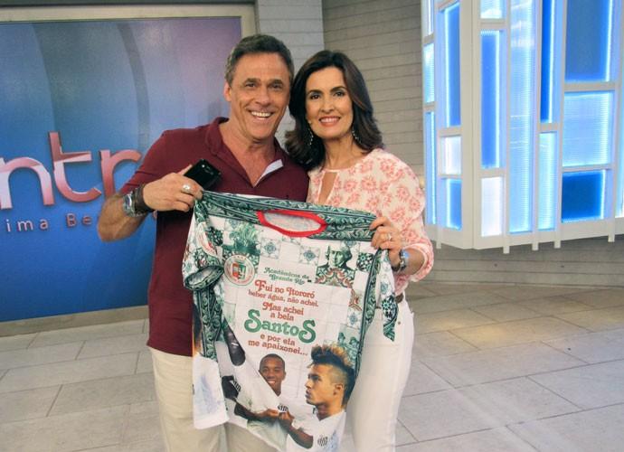 Oscar Magrini e Fátima depois do programa  (Foto: Viviane Figueiredo Neto/Gshow)
