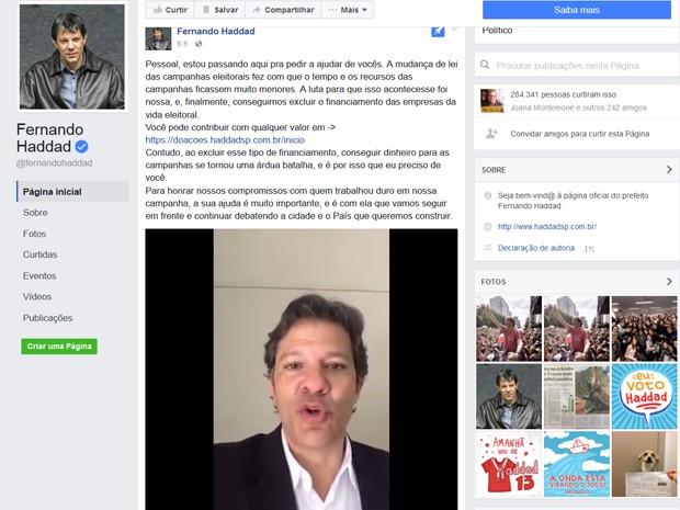 O prefeito de São Paulo Fernando Haddad, que foi candidato do PT à reeleição, postou vídeo pedindo colaboração para pagar despesas de campanha (Foto: Reprodução/Facebook/Fernando Haddad)