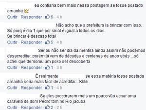 Moradores comentam na postagem falsa da Prefeitura de Hortolândia (Foto: Reprodução/ Facebook)